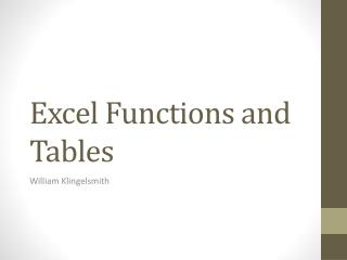 Excel Functions and Tables