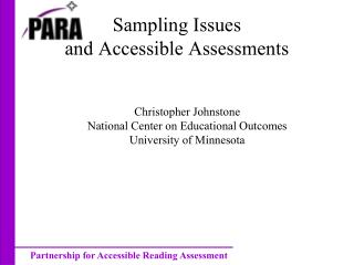 Sampling Issues and Accessible Assessments