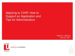 Applying to CIHR: How to Support an Application and Tips for Administrators