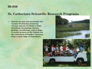 00-036   St. Catherines Scientific Research Programs