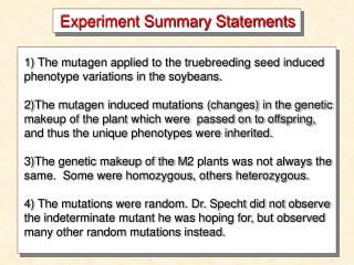Experiment Summary Statements