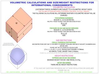 VOLUMETRIC CALCULATIONS AND SIZE/WEIGHT RESTRICTIONS FOR INTERNATIONAL CONSIGNMENTS
