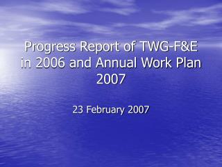 Progress Report of TWG-F&E in 2006 and Annual Work Plan 2007