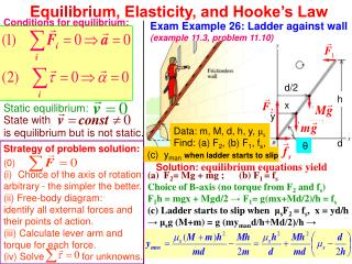 Equilibrium, Elasticity, and Hooke's Law