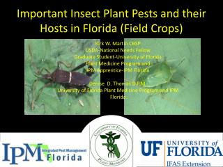 Important Insect Plant Pests and their Hosts in Florida (Field Crops)