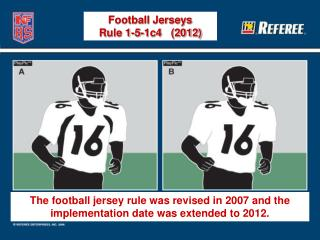 The football jersey rule was revised in 2007 and the implementation date was extended to 2012.