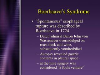 Boerhaave�s Syndrome
