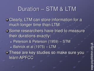 Duration   STM  LTM