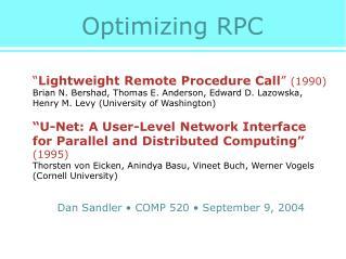 Optimizing RPC