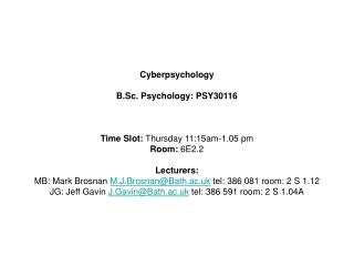 Cyberpsychology B.Sc. Psychology: PSY30116 Time Slot:  Thursday 11:15am-1.05 pm Room:  6E2.2 Lecturers: