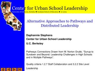 Alternative Approaches to Pathways and Distributed Leadership