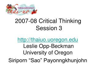 2007-08 Critical Thinking  Session 3