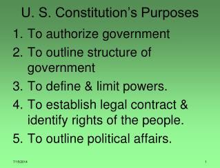 U. S. Constitution's Purposes