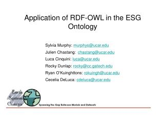 Application of RDF-OWL in the ESG Ontology