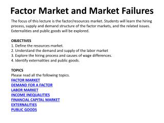 Factor Market and Market Failures