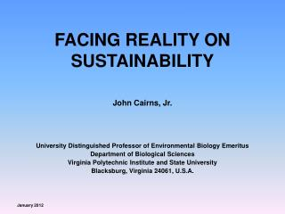 FACING REALITY ON SUSTAINABILITY
