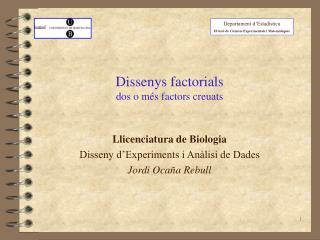 Dissenys factorials dos o més factors creuats