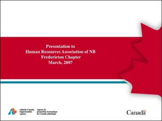 Presentation to  Human Resources Association of NB  Fredericton Chapter March, 2007