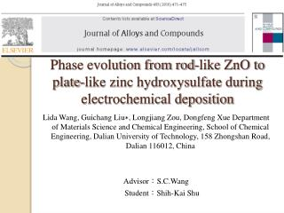 Phase evolution from rod-like ZnO to plate-like zinc hydroxysulfate during electrochemical deposition