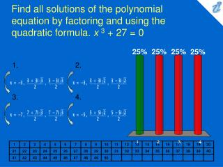 Find all solutions of the polynomial equation by factoring and using the quadratic formula.  x 3  + 27 = 0