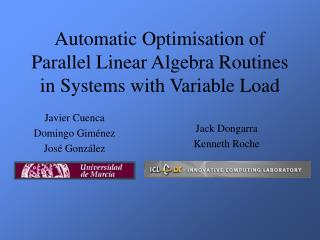 Automatic Optimisation of Parallel Linear Algebra Routines in Systems with Variable Load