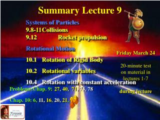 Summary Lecture 9