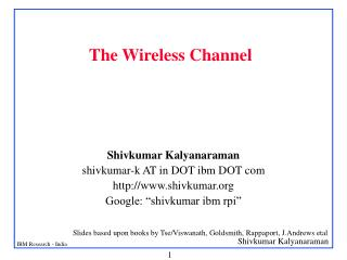 The Wireless Channel