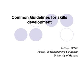 Common Guidelines for skills development