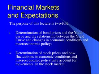 Financial Markets  and Expectations