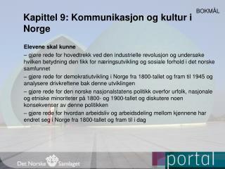 Kapittel 9: Kommunikasjon og kultur i Norge