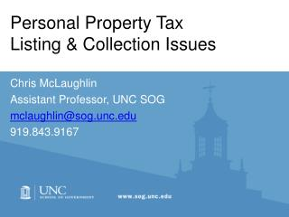 Personal Property Tax           Listing & Collection Issues