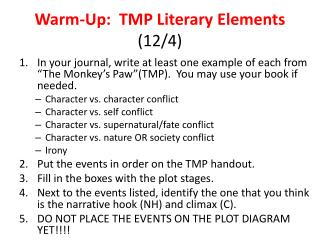 Warm-Up:  TMP Literary Elements  (12/4)