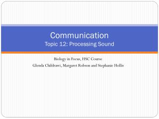 Communication Topic 12: Processing Sound
