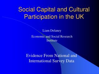 Social Capital and Cultural Participation in the UK