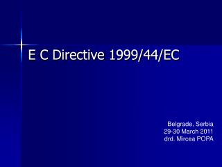 E C Directive 1999/44/EC