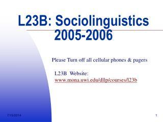 L23B: Sociolinguistics 2005-2006