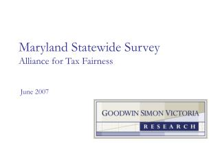 Maryland Statewide Survey Alliance for Tax Fairness