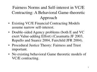 Fairness Norms and Self-interest in VC/E Contracting: A Behavioral Game-theoretic Approach