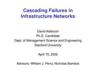 Cascading Failures in  Infrastructure Networks