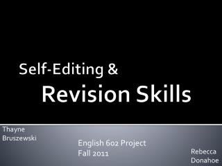 Self-Editing & Revision Skills