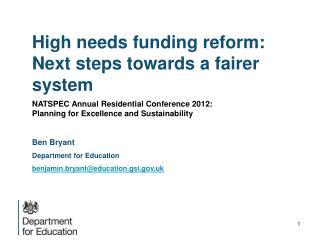 High needs funding reform: Next steps towards a fairer system