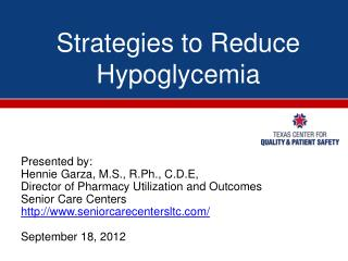 Strategies to Reduce Hypoglycemia