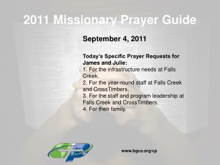 2011 Missionary Prayer Guide