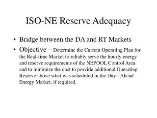 ISO-NE Reserve Adequacy