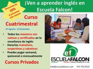 ¡ La Escuela Falcon  te invita a sus  cursos de  verano!