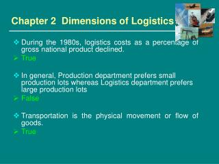 Chapter 2  Dimensions of Logistics