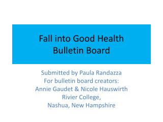 Fall into Good Health Bulletin Board