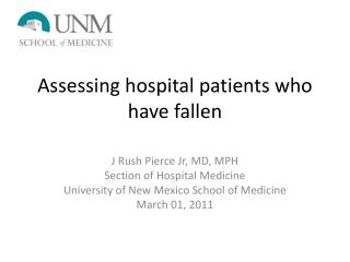 Assessing hospital patients who have fallen