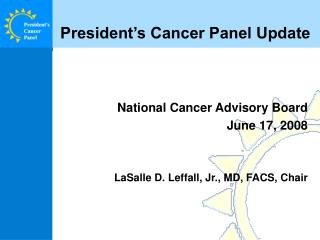 President's Cancer Panel Update