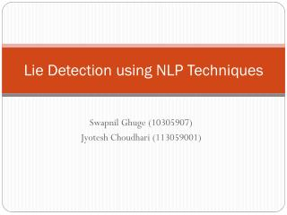 Lie Detection using NLP Techniques